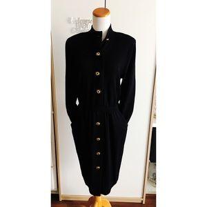 St. John Collection Vtg Black Knit Dress